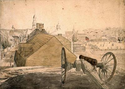 L'est du Vieux-Montréal vu de la colline de la citadelle. Bibliothèque et Archives Canada, MIKAN 2896865.