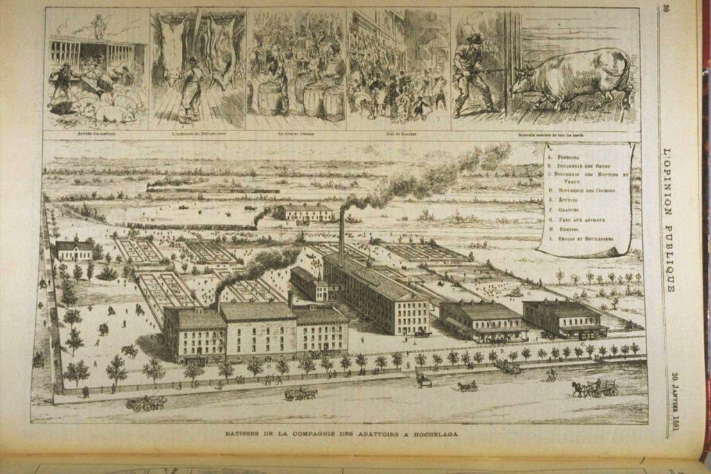 Les anciens abattoirs d'Hochelaga, L'Opinion publique, 1881. BAnQ.