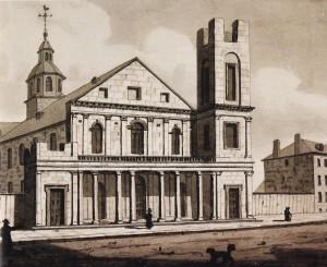 Cathédrale Saint-Jacques-le-Majeur et square Saint-Jacques, 1828. Aquarelle de John P. Drake, Musée des Beaux-arts du Québec.
