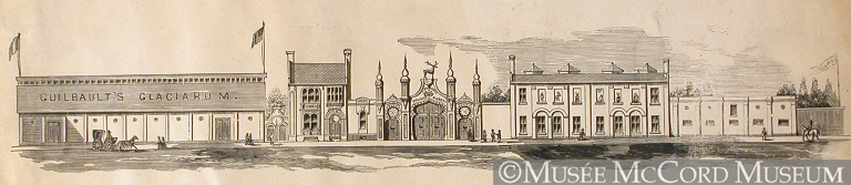 Entrée du Jardin zoologique Guilbault, rue Guilbault, entre 1862 et 1869. Walker. Musée McCord, M930.50.5.126.