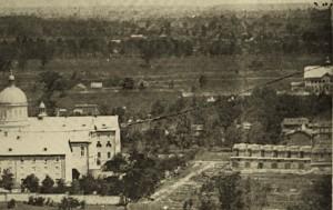 L'Hôtel-Dieu et le Jardin Guilbault en 1869. Panorama depuis la montagne. James Inglis. Musée McCord.