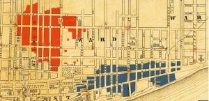Carte du Grand incendie de Montréal en juillet 1852. Le jardin Viger était entouré par les deux conflagrations qui fit près de 15 000 sinistrés.