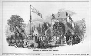 Le Jardin Guilbault en 1852, alors qu'il était situé à l'emplacement actuel du Coeur des sciences de l'UQÀM.