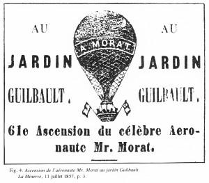 Publicité du Jardin Guilbault pour l'aéronaute français Morat. La Minerve, 11 juillet 1857