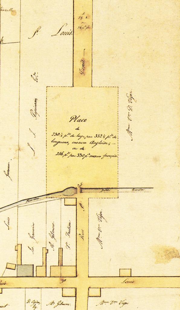 Plan du marché public sur les terrains donnés par les familles Papineau et Viger, 1817. Jacques Viger, 1817. Bibliothèque et Archives Canada, NMC1505.