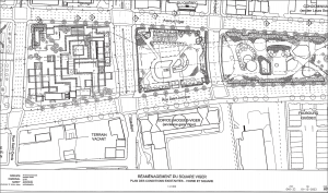 Plan des aménagements de 1984 du square Viger. Cardinal Hardy, 2003.