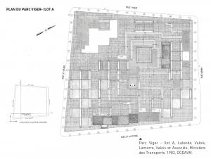 Plan de L'Agora (îlot A) du square Viger. Lalonde Valois Lamarre (LAVALIN) et Ministère des Transports, 1982.
