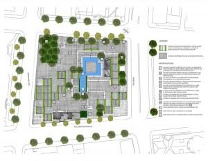 Projet de restauration de l'Agora du square Viger par l'Étude Lafontaine-Langford, avec la collaboration de Docomomo-Québec, Design-UQÀM et le RAAV. 2015.