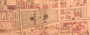 La place Viger, le jardin Viger et le marché aux bestiaux en 1879. Atlas Hopkins, 1879-030. BAnQ.