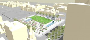 Proposition de réaménagement de l'Agora du square Viger par la Ville de Montréal. 2015.
