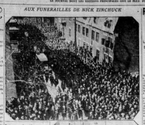Funérailles du chômeur Nick Zynchuck, abattu par la police (La Presse, 13 mars 1933. BAnQ)