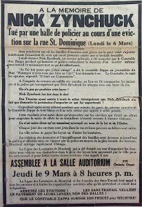 Affiche annonçant une assemblée à la mémoire de Nick Zynchuck abattu par la police lors d'une éviction. Mars 1933. (Source : Benoit Marsan)