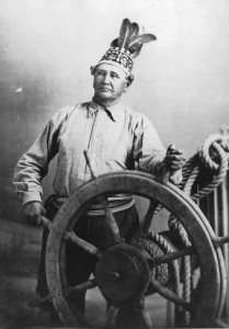 Jean-Baptiste Rice, pilote fluvial amérindien, vers 1890